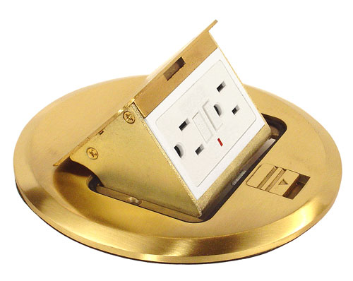 Pop-up Floor Box Kit GFCI 20A with Brass Finish - Ameleco Electric Inc.