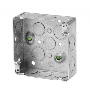 52151k-Steel Stud Box - 4 Square - 1 1.5 in. deep- knockouts- CSA Standard Approved